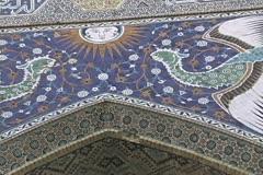 Uzbekistan Bukhara phoenix mosaic madrasah Stock Footage