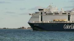 Color Line Ferry in Kiel / Germany Stock Footage