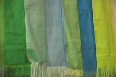 Uzbekistan Bukhara silk fabrics pans Stock Footage