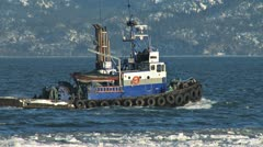 Tugboat Redoubt Leaving Icy Harbor 3b Stock Footage