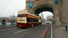 Tourist Bus on Tower Bridge, London - stock footage