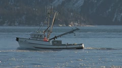Fishing Boat  passes Tugboat Redoubt Outgoing Stock Footage