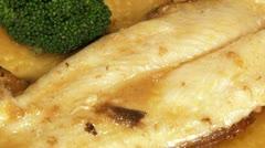 Food, fish, sauce, broccoli Stock Footage