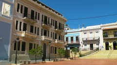 Old San Juan colonial buildings and plaza Stock Footage