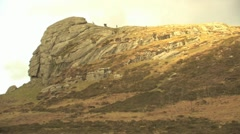 Hikers on Haytor Rocks HD Stock Footage
