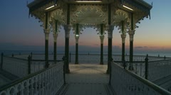 Bandstand at sunset glidecam two Stock Footage