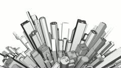 City Office Buildings Aerial Sphere 3D + Alpha Matte Stock Footage