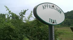 Stock Video Footage of A small marker for the Appalachian Trail