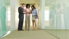 Three business people conversing in hallway - stock footage