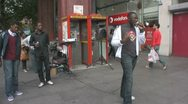 Young male rapper in the street with mic Stock Footage