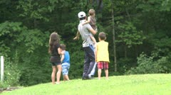 Man with his children walking in a Nature Reserve (1 of 3) - stock footage