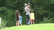 Stock Video Footage of Man with his children walking in a Nature Reserve (1 of 3)