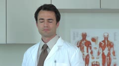 Portrait of doctor in clinic - stock footage