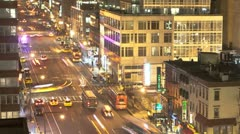Timelapse Traffic at night on 8th Ave Stock Footage