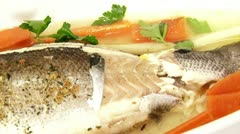 Fish, sea bass, served Stock Footage