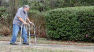 Stock Video Footage of Man With Walker