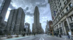 HDR Timelapse Crossing at Flatiron Building Stock Footage