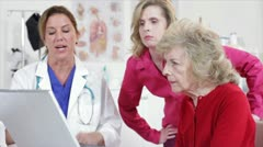Doctor going over patients results - stock footage