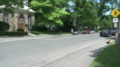 Looking down a tree lined street with a sign showing route 7 Stock Footage
