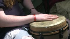 A musician playing a Bongo Drum Stock Footage