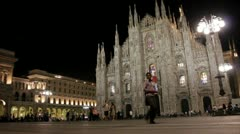 Piazza of the Duomo Cathedral in Milan, Italy at Night Stock Footage