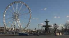 Timelapse of Place de la Concorde and Ferris-wheel paris france  day street Stock Footage
