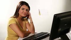 Girl and desktop isolated Stock Footage