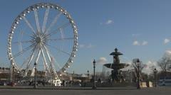 Place de la Concorde and Ferris-wheel paris france street traffic day Stock Footage