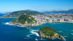 "The ""Concha"" gulf and San Sebastian city, Basque, Spain. Time-lapse. Stock Footage"