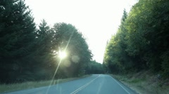 Driving Down Mountain Road Curve Stock Footage