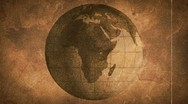 Stock Video Footage of globe sketched on old paper grunge loop background