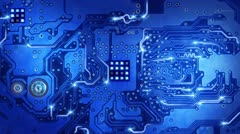 Stock Video Footage of computer circuit board blue loopable background