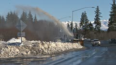 Winter Cleanup - Snow Blower on Sidewalk and Traffic 1 Stock Footage