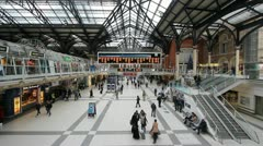 Train travelers in Liverpool Station Stock Footage