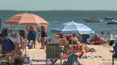 Crowds on a sunny beach (9 of 10) Stock Footage