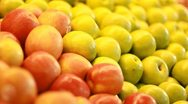 Vegetables fruits salad apple banana orange healthy merchandise supermarket diet Stock Footage