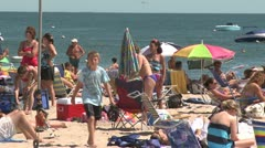 Crowds on a sunny beach (4 of 10) Stock Footage