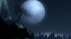 Tree over moonlight - stock footage