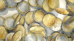 Euro coins dropping - stock footage