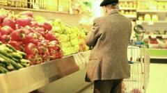 Vegetables fruits salad apple banana orange healthy merchandise supermarket diet Stock Footage