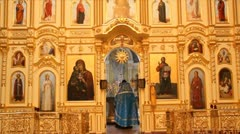 Russian Orthodox Church. The interior, icons, life. Stock Footage