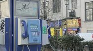 Close up French pay phone Stock Footage
