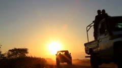 Silhouetted African Road Stock Footage