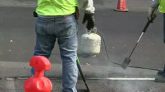 Highway road workers Stock Footage