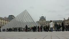 Louvre entrance queue Stock Footage