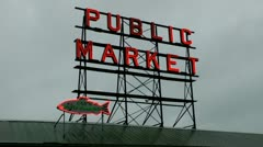 Public Market sign, gray wet Seattle Stock Footage