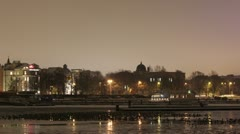 Night timelapse of canal with ducks on ice 1080 Stock Footage