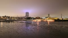 Night timelapse of river and city light 1080 Stock Footage