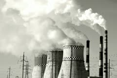 Thermal power plant, smoke, black and white Stock Footage