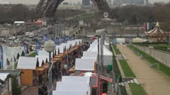 Christmas market and Eiffel tower Stock Footage